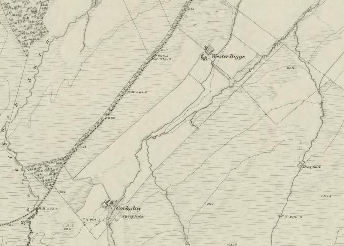 Cockplay and Wester Biggs Farms, Blackford (Ordnance Survey 1862)