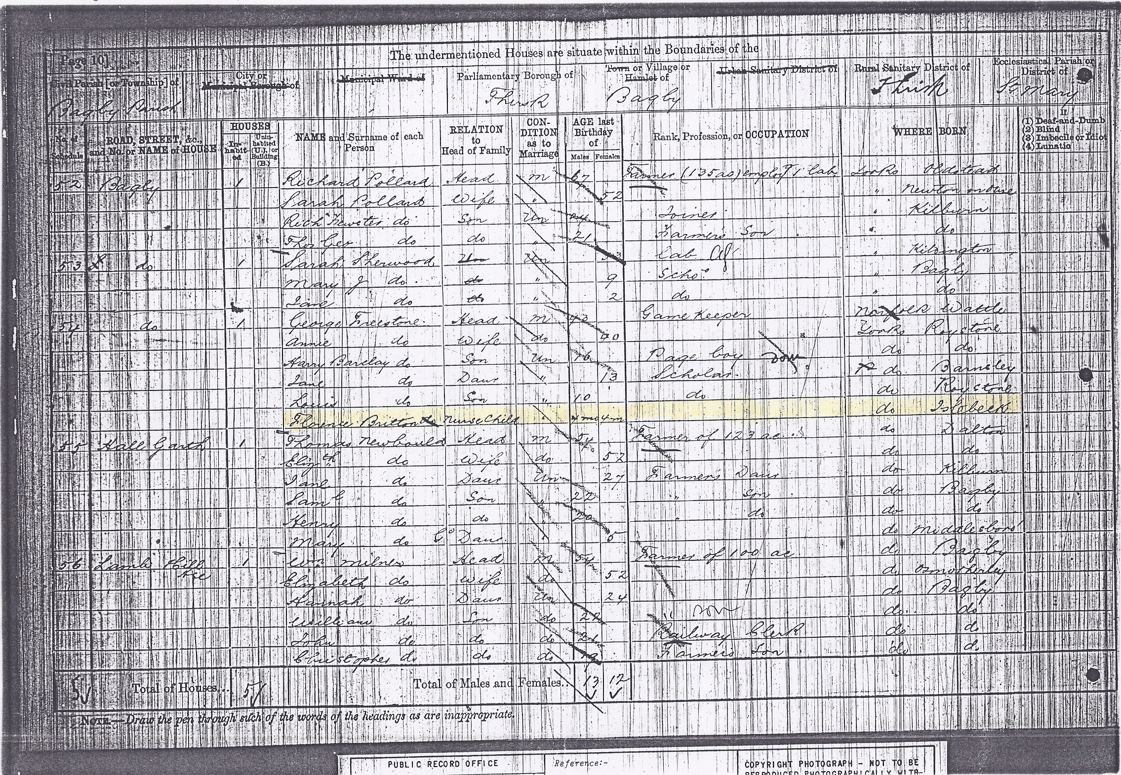 """1881 Census-- Florence Britton a """"Nurse Child"""" with the Freestone Family"""