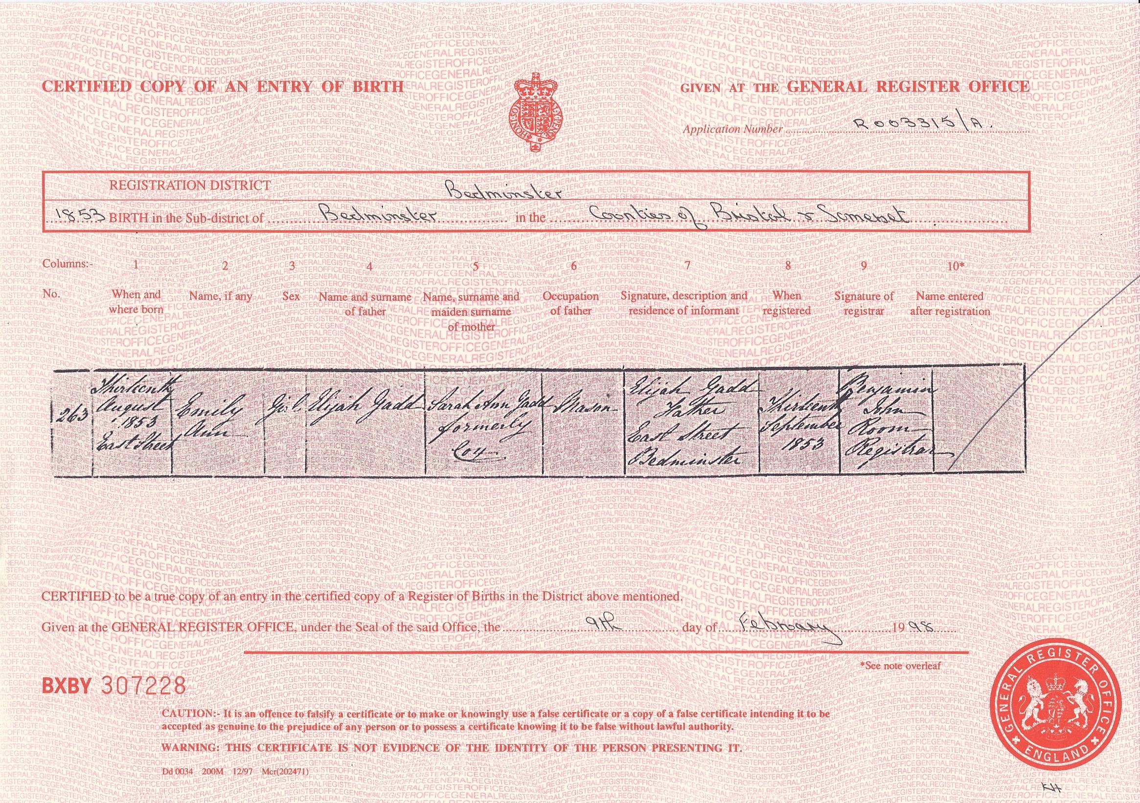 Emily Ann Gadd's Birth Certificate