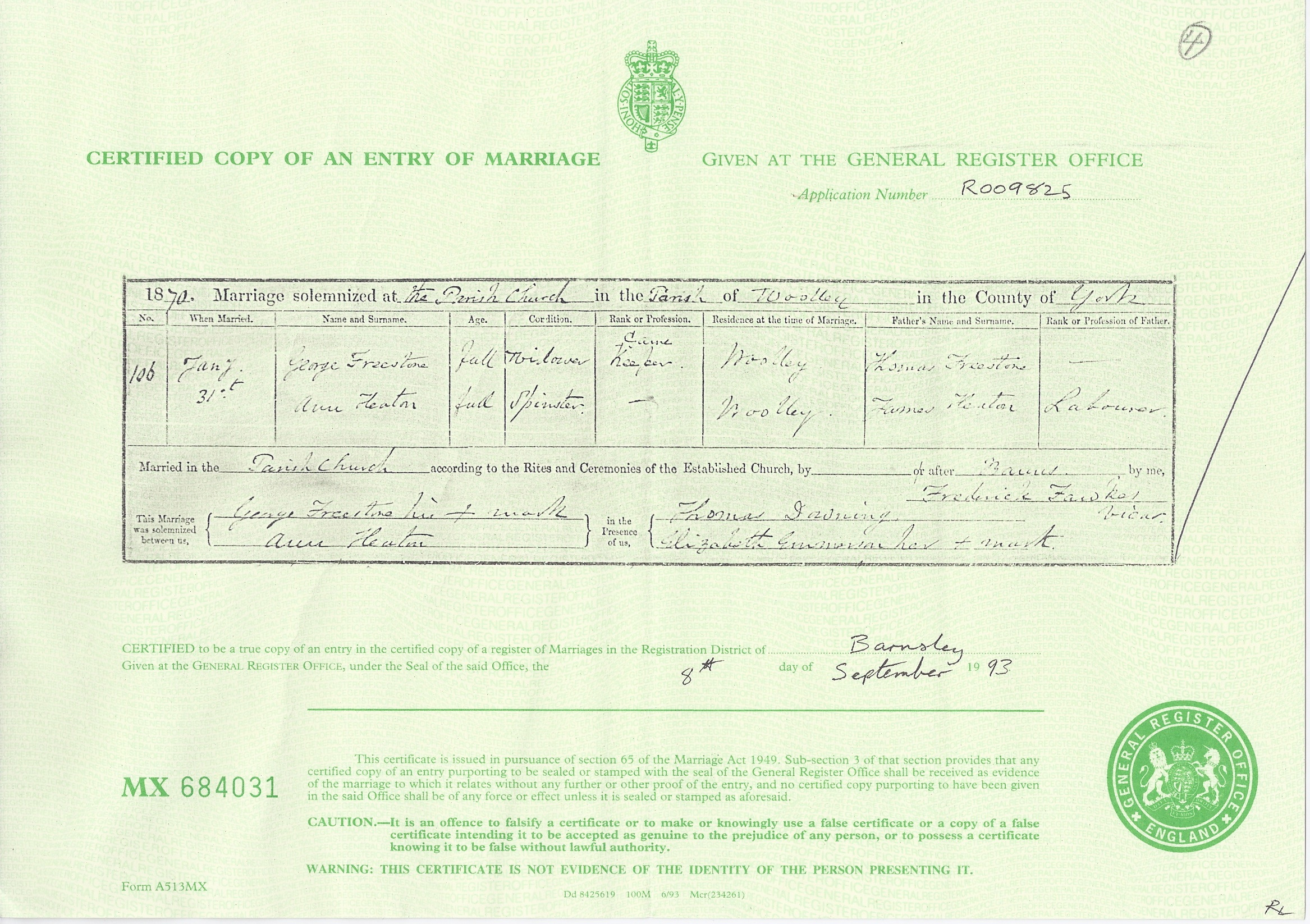 Marriage Certificate for George Freestone and Ann Heaton