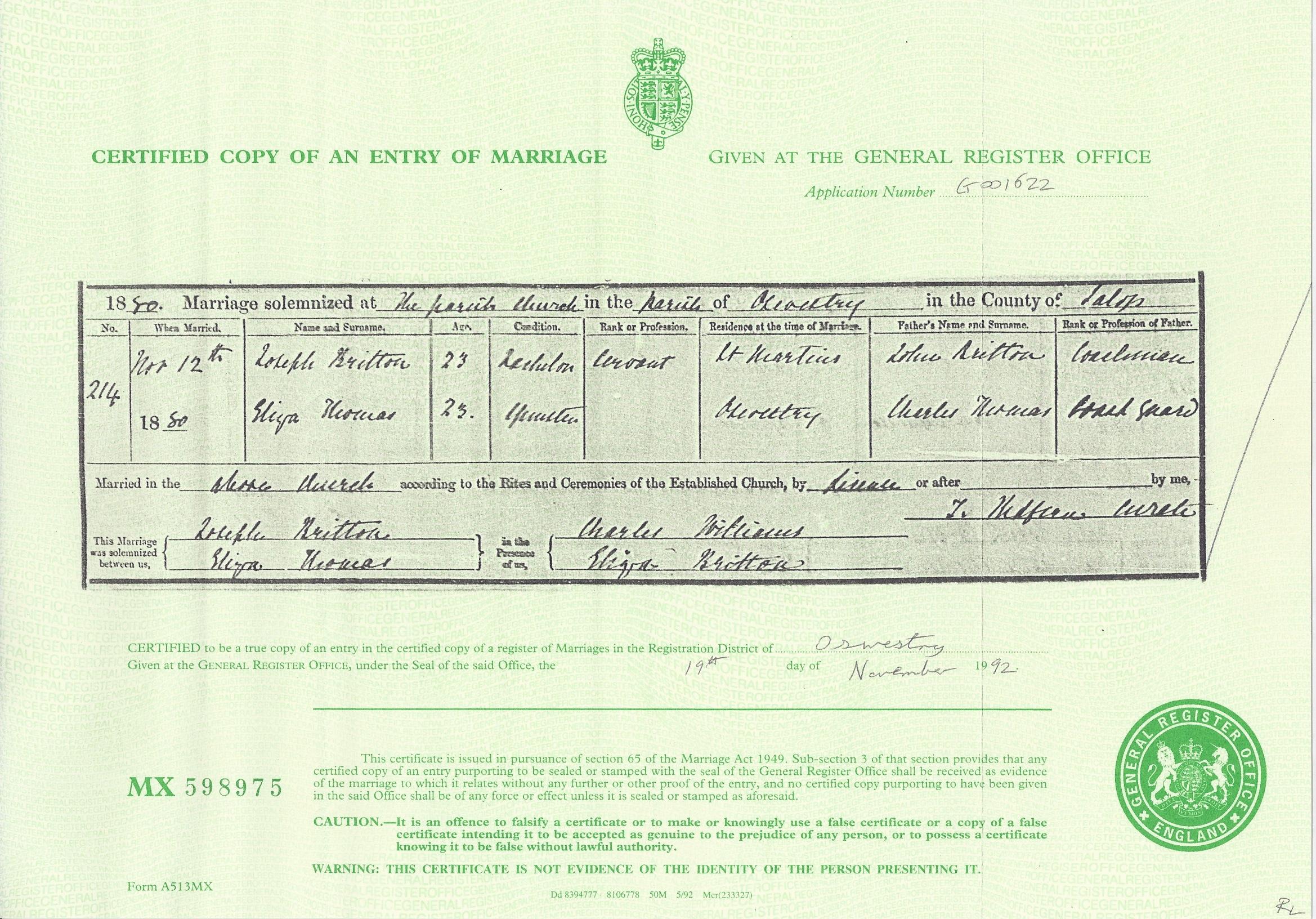 Marriage Certificate for Joseph Britton and Eliza Thomas