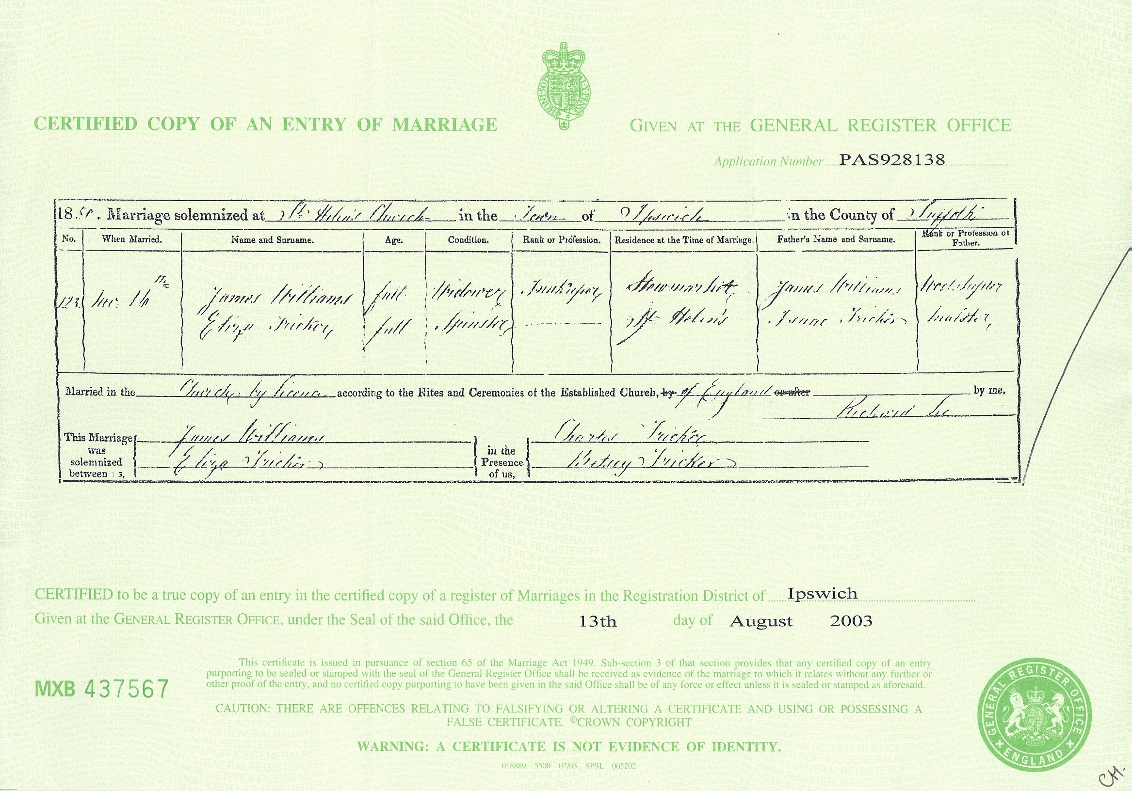 Marriage Certficate of James Williams and Eliza Tricker