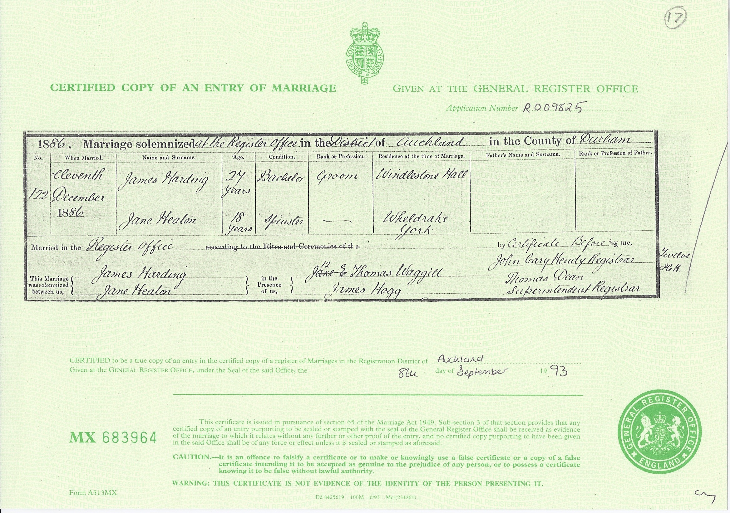 Marriage Certificate for James Harding and Jane Heaton