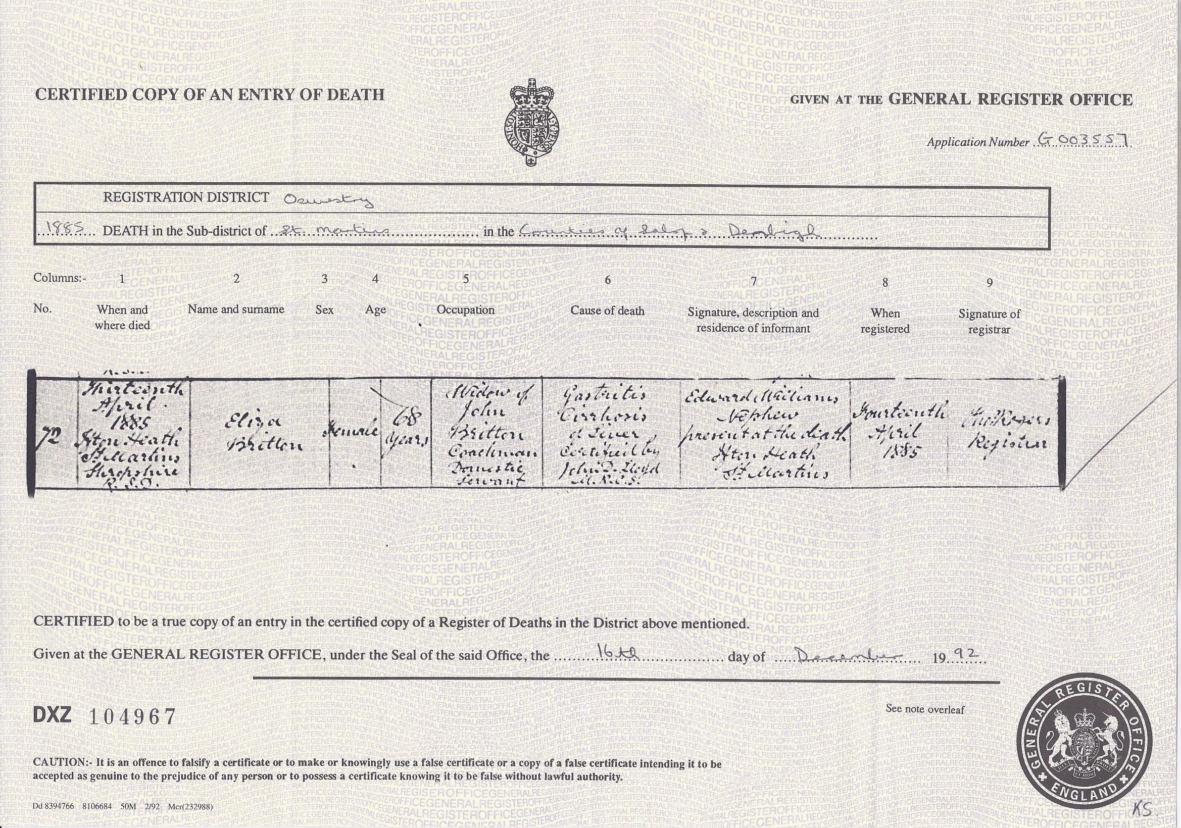 Eliza (Snr.) Britton's Death Certificate