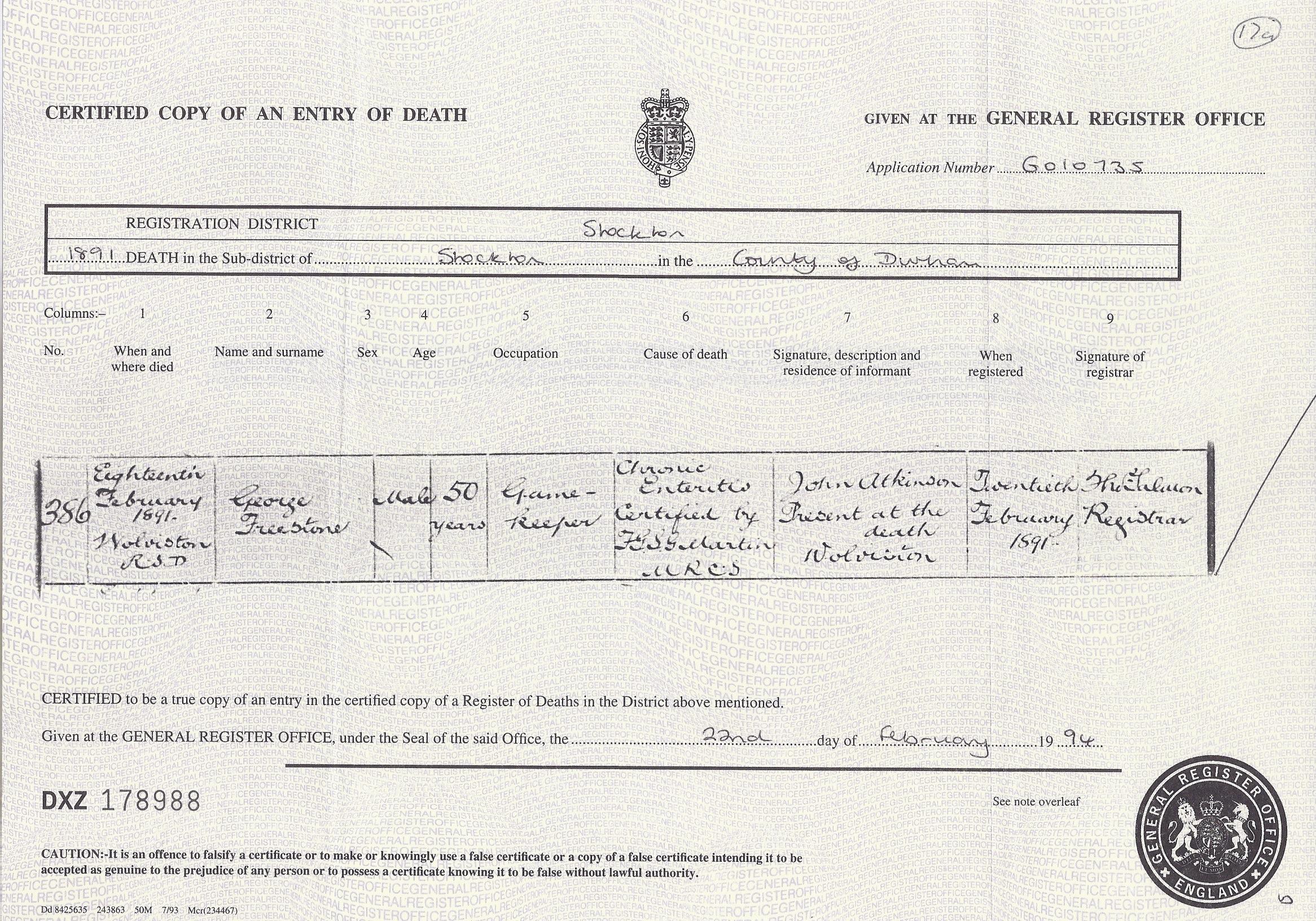 George Freestone's Death Certificate