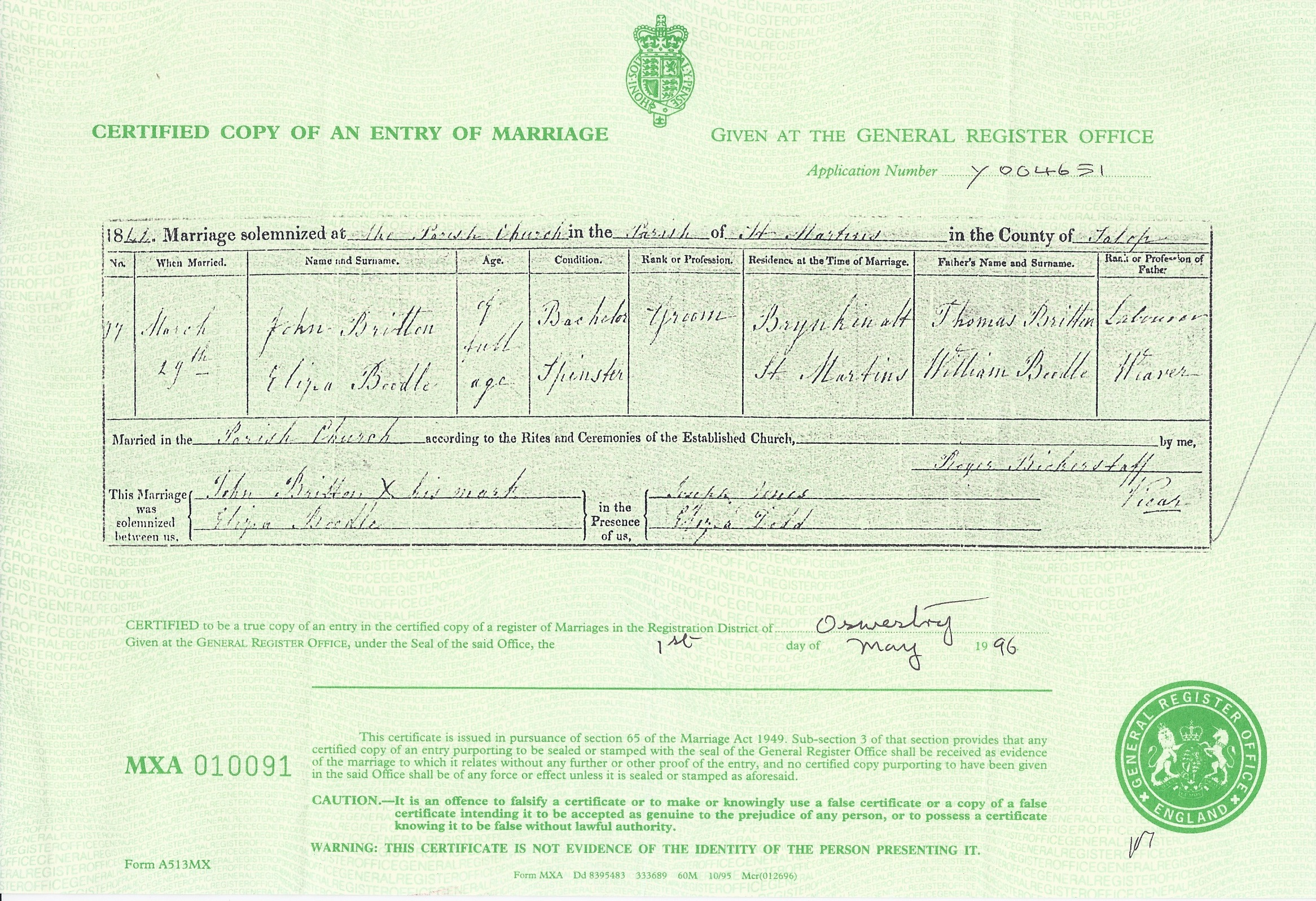 Marriage Certificate for John Britton and Eliza Boodle