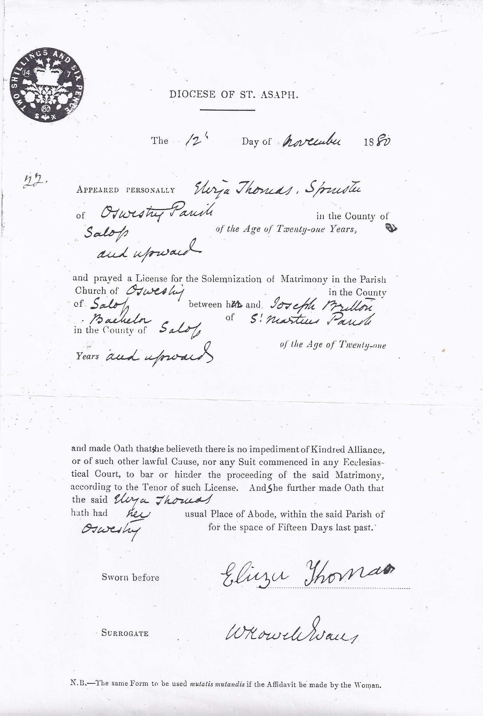 Marriage Licence for Joseph Britton and Eliza Thomas