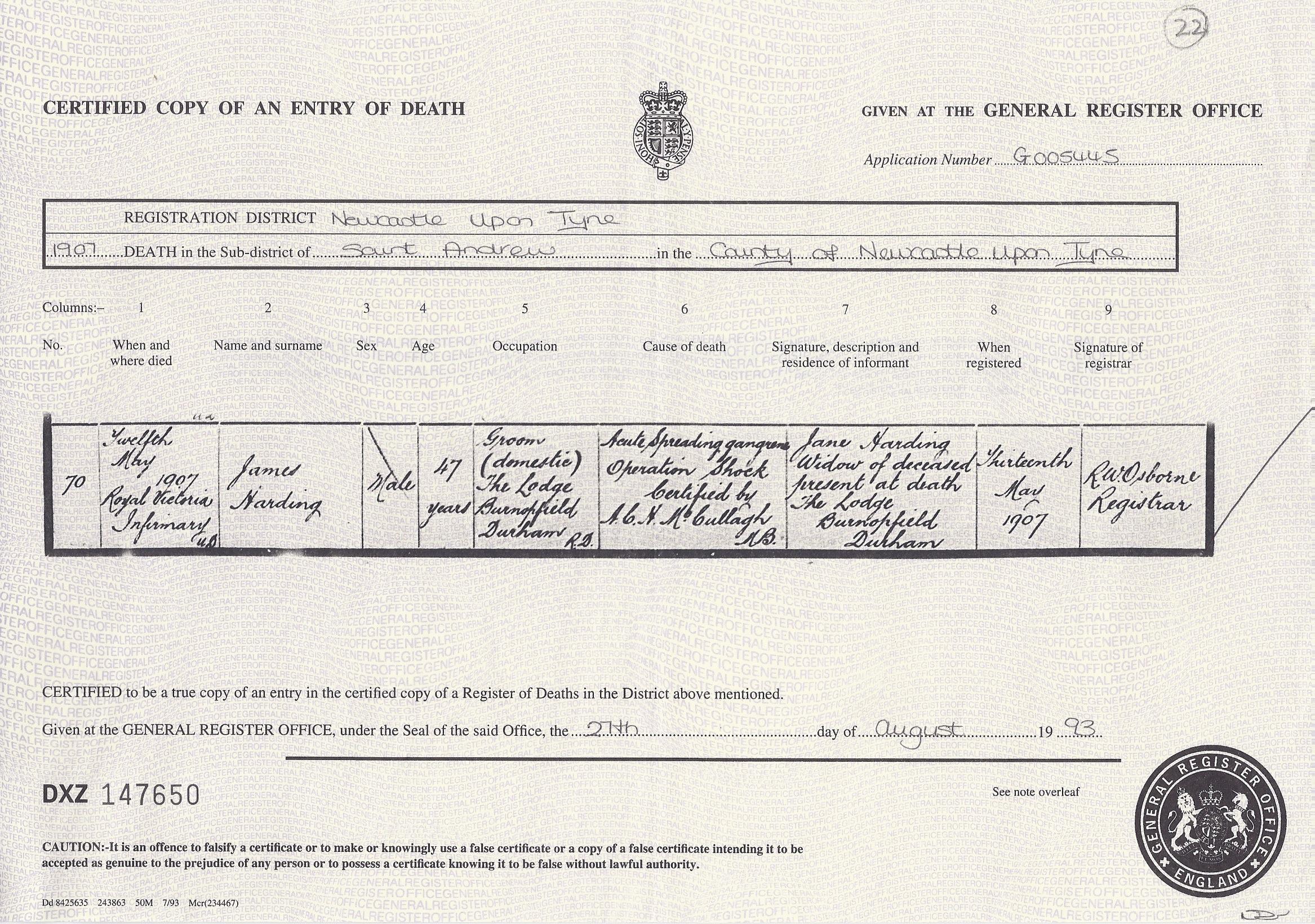 James Harding's Death Certificate