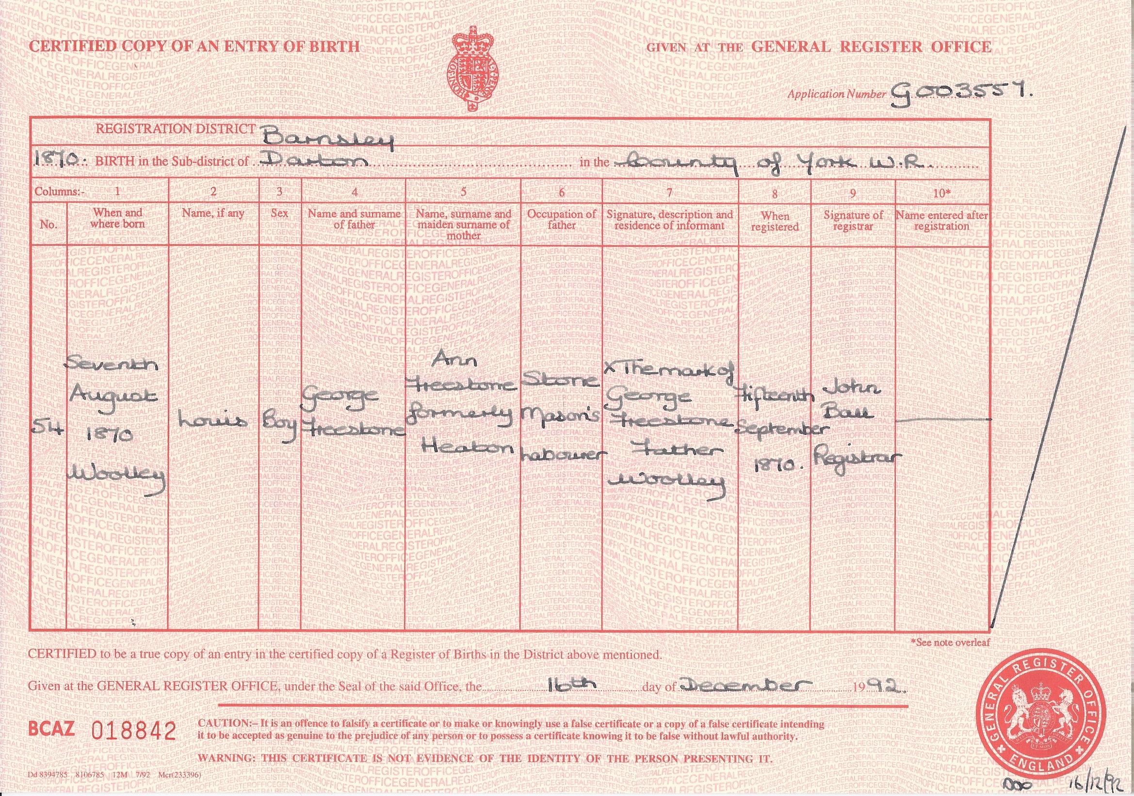 Louis Freestone's Birth Certificate