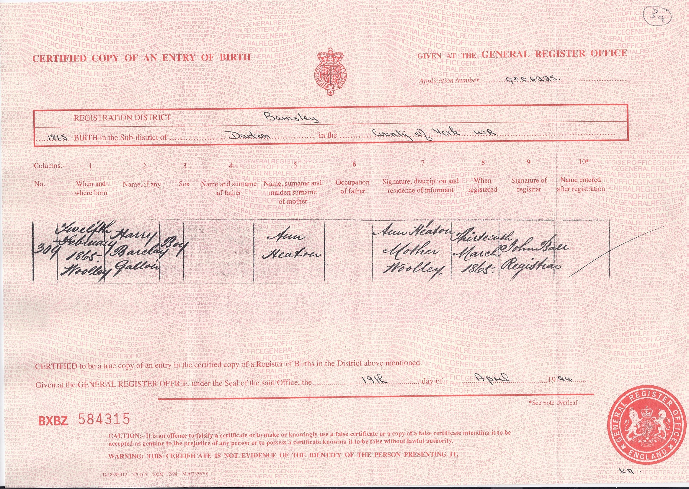 Harry Barclay Gallon Heaton's Birth Certificate