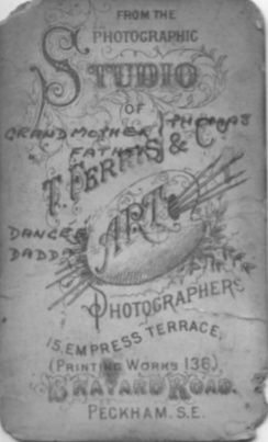 Reverse of Photo of Charles and Eliza Ann Thomas