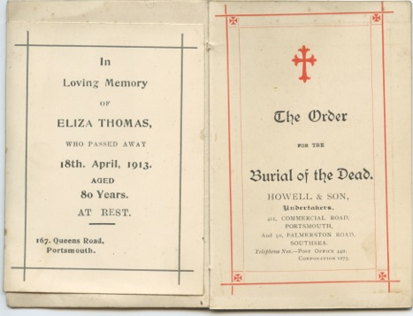 Eliza Ann Thomas death commemoration booklet. Provided by Theo Pardoen