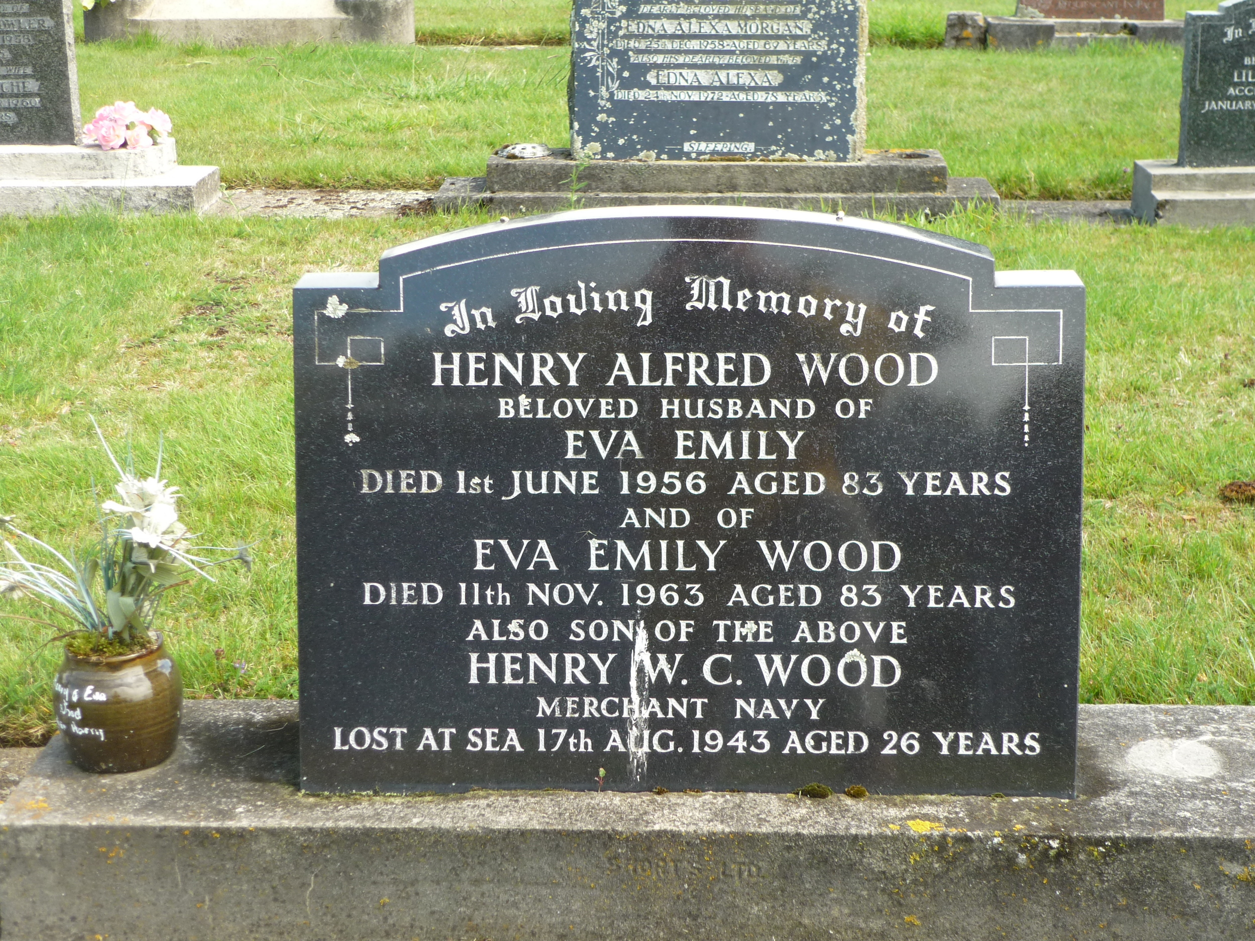 Graves of Henry Alfred and Eva Emily Wood (nee Ford)