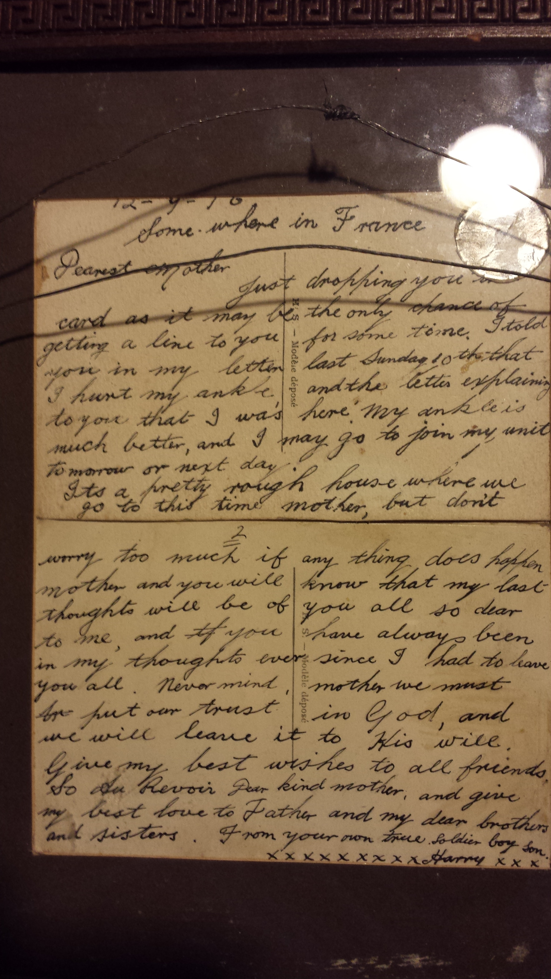 Card written from the Somme by Henry James Faull to his mother- see transcription above