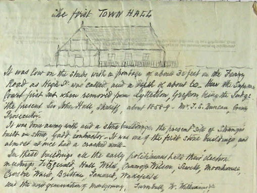 """Excerpt from Burke Manuscript. Note reference to """"Gadd contractor"""" for second town hall"""