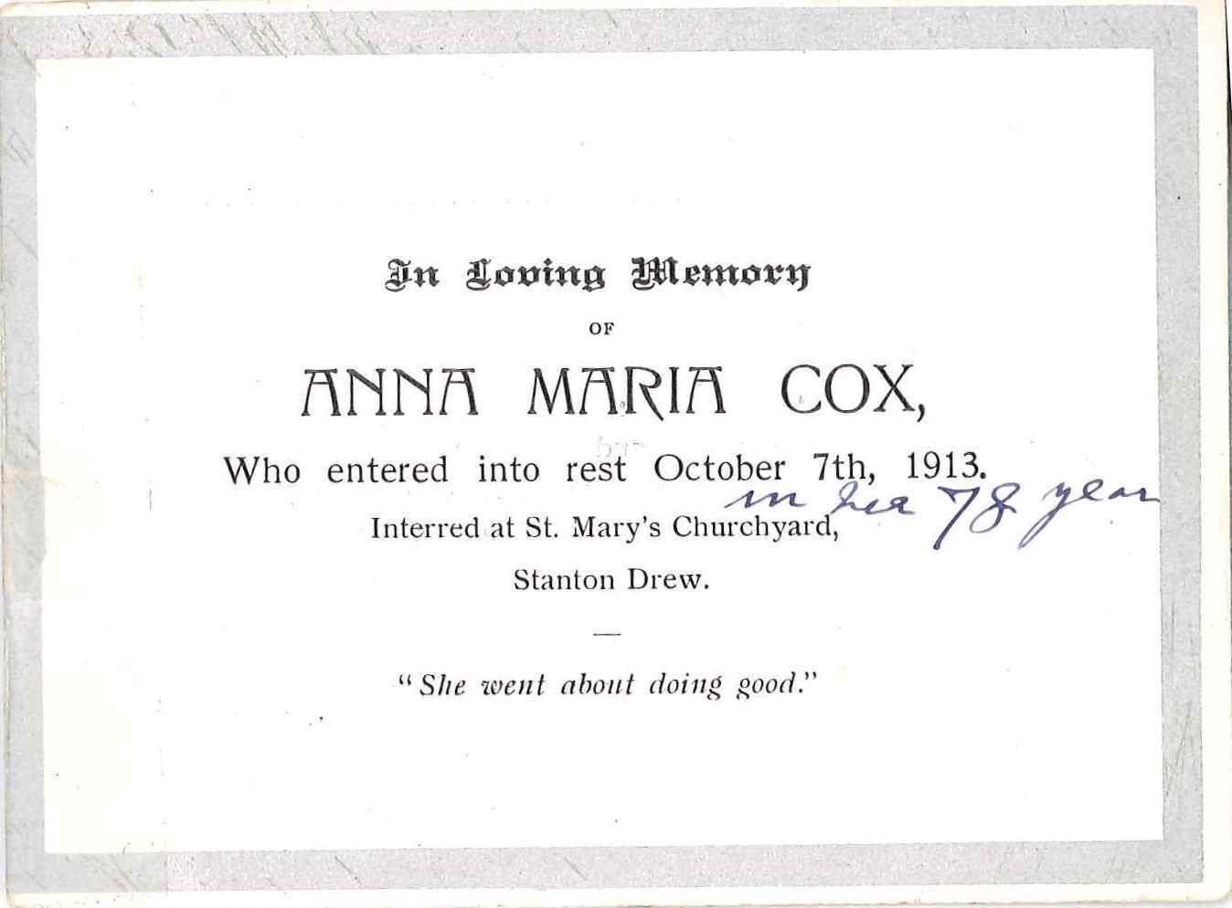 Anna Maria Cox's Memorial Card