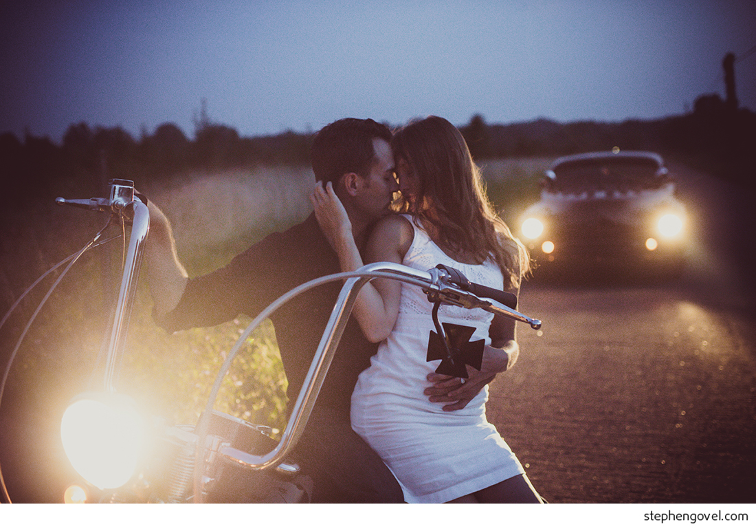 hot rod motorcycle classic car engagement photos forest woods sunset
