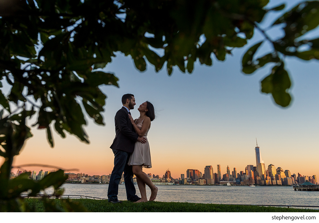 hoboken engagement nyc skyline sunset