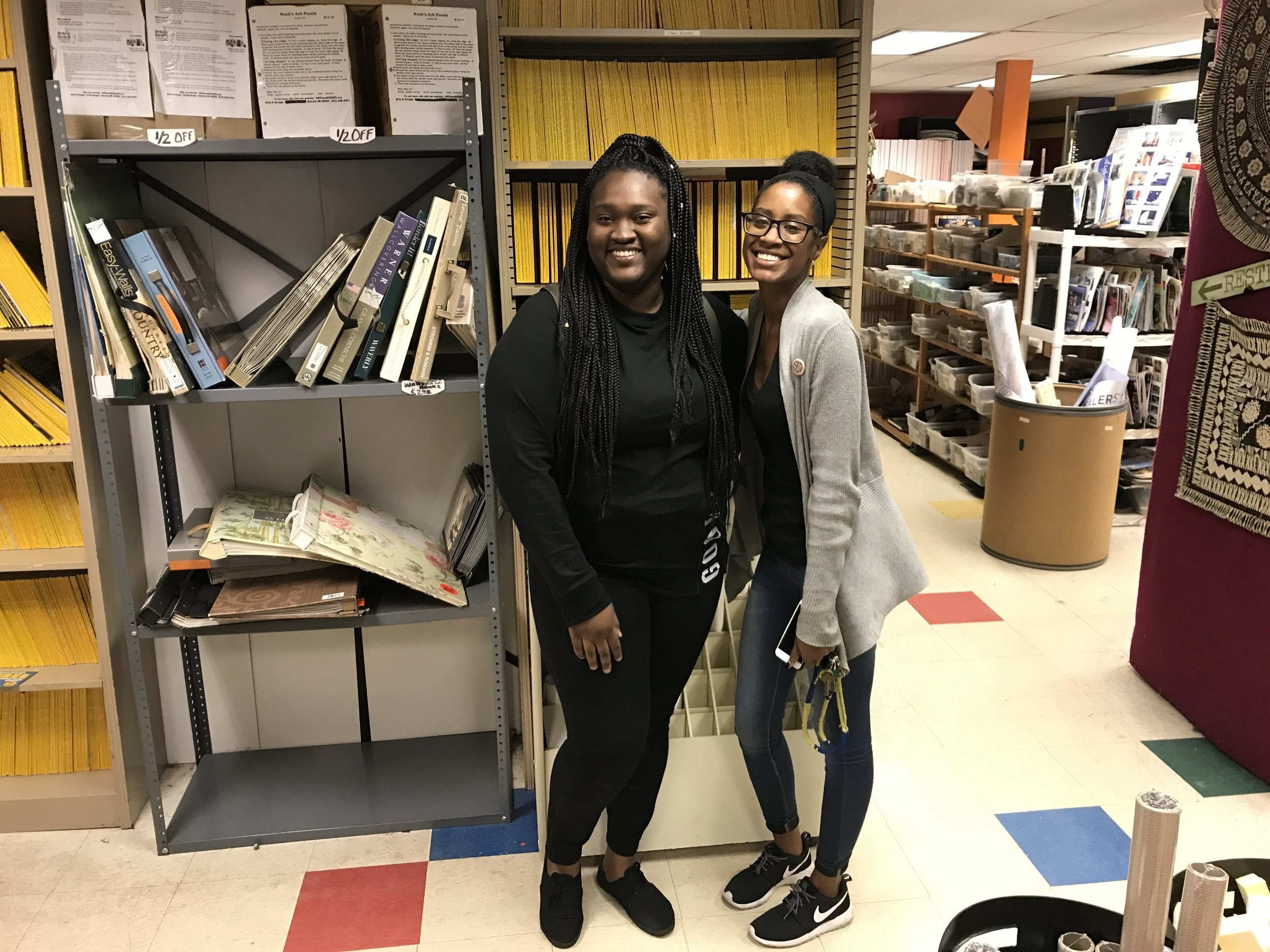 Lynda meeting one of Motown's Project Partners, Arts & Scraps. Here she is (left) pictured with their Warehouse Coordinator, Tonia (right).