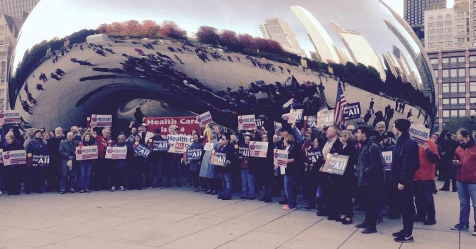 "Rally for healthcare justice at Chicago's ""Bean."" (Photo: Donna Smith)"