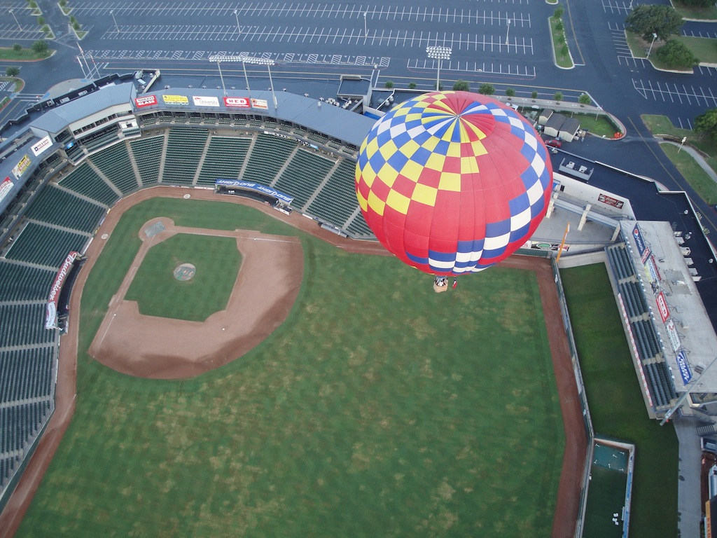 Balloon over Dell Diamond in Round Rock