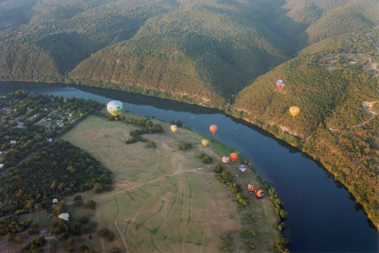 Balloons launching from the old Steiner Ranch homestead. Photo by Lloyd Cates