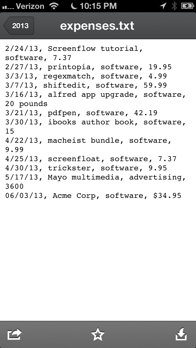 The text appended to the expenses.txt file in Dropbox