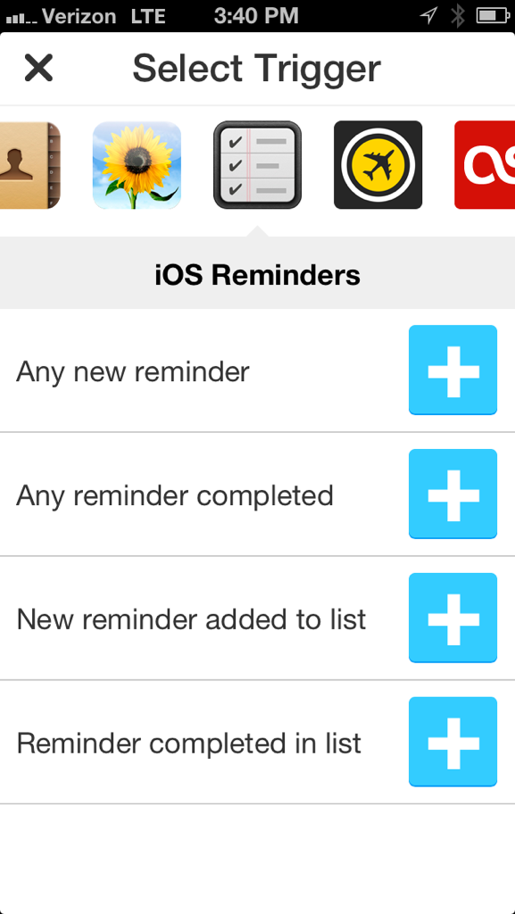 IFTTT: Selecting the Reminders trigger