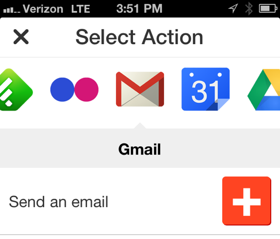 Select the Gmail action