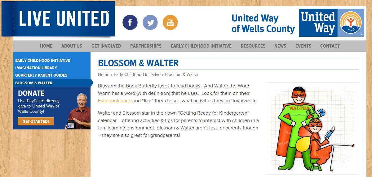 UW of Wells County - Blossom & Walter - reading mascots.JPG