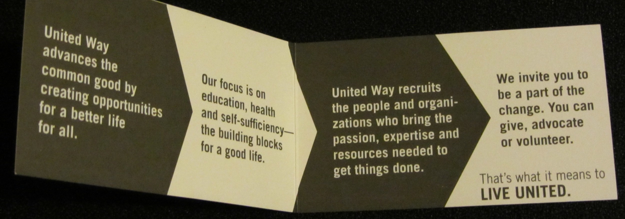 UW of Midland County - elevator speech on business card - inside of card.JPG