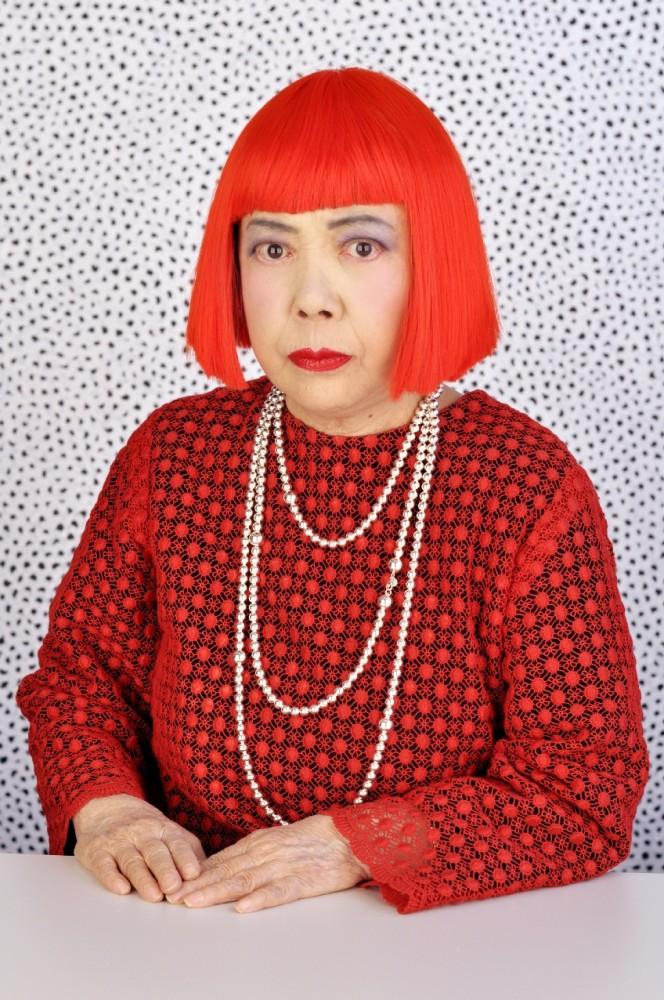 Yayao Kusama Japanese artist red hair dress with red polka dots.jpg