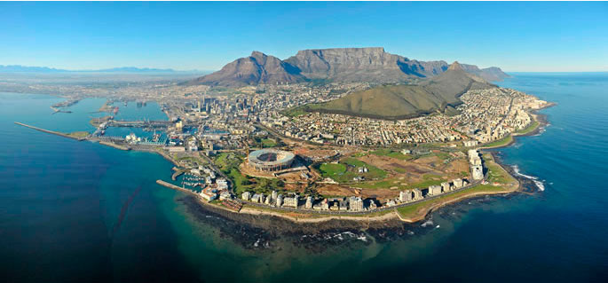 Aerial view of Cape Town, with the beachfront where I grew up (right side of photo)