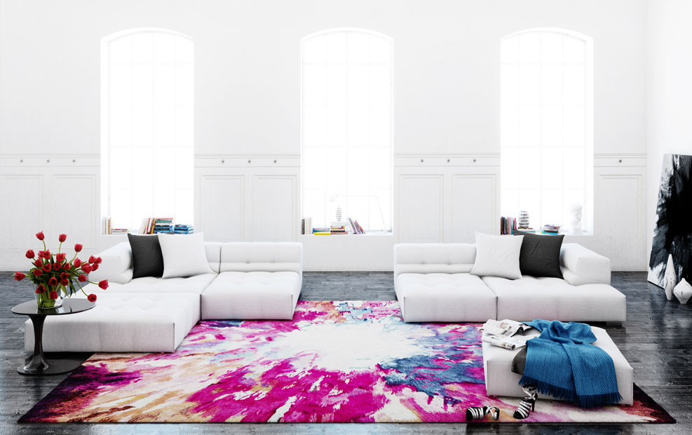 Color splashes with Calle Henzel's dynamic Aldo Taccona Intense rug.