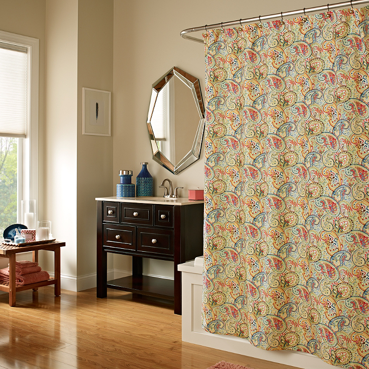 Very nice for traditional decor: Whimsy Shower Curtain in Yellow from Bed Bath and Beyond