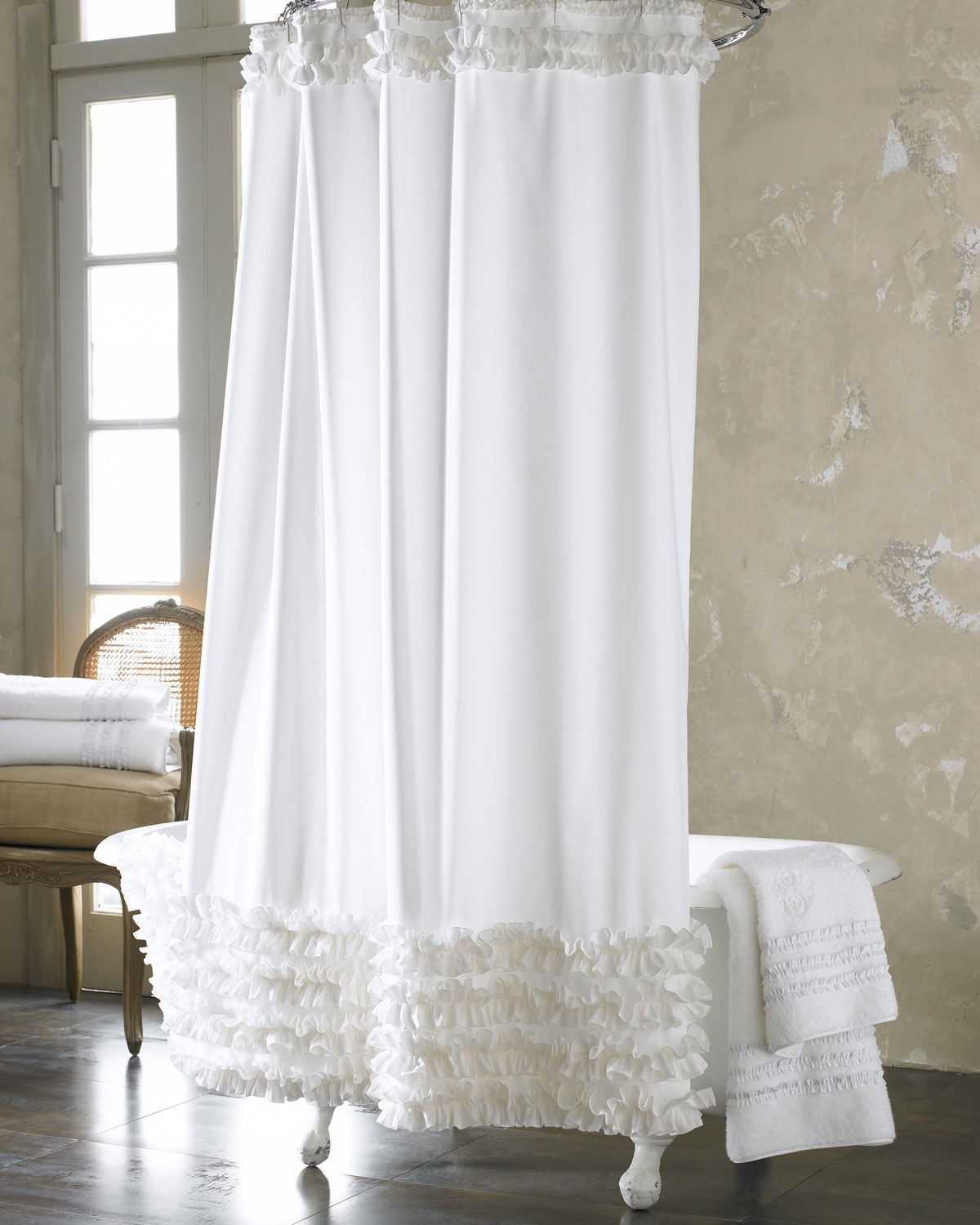 Fresh for spring and ready for romance: Ann Gish Ruffled Shower Curtain