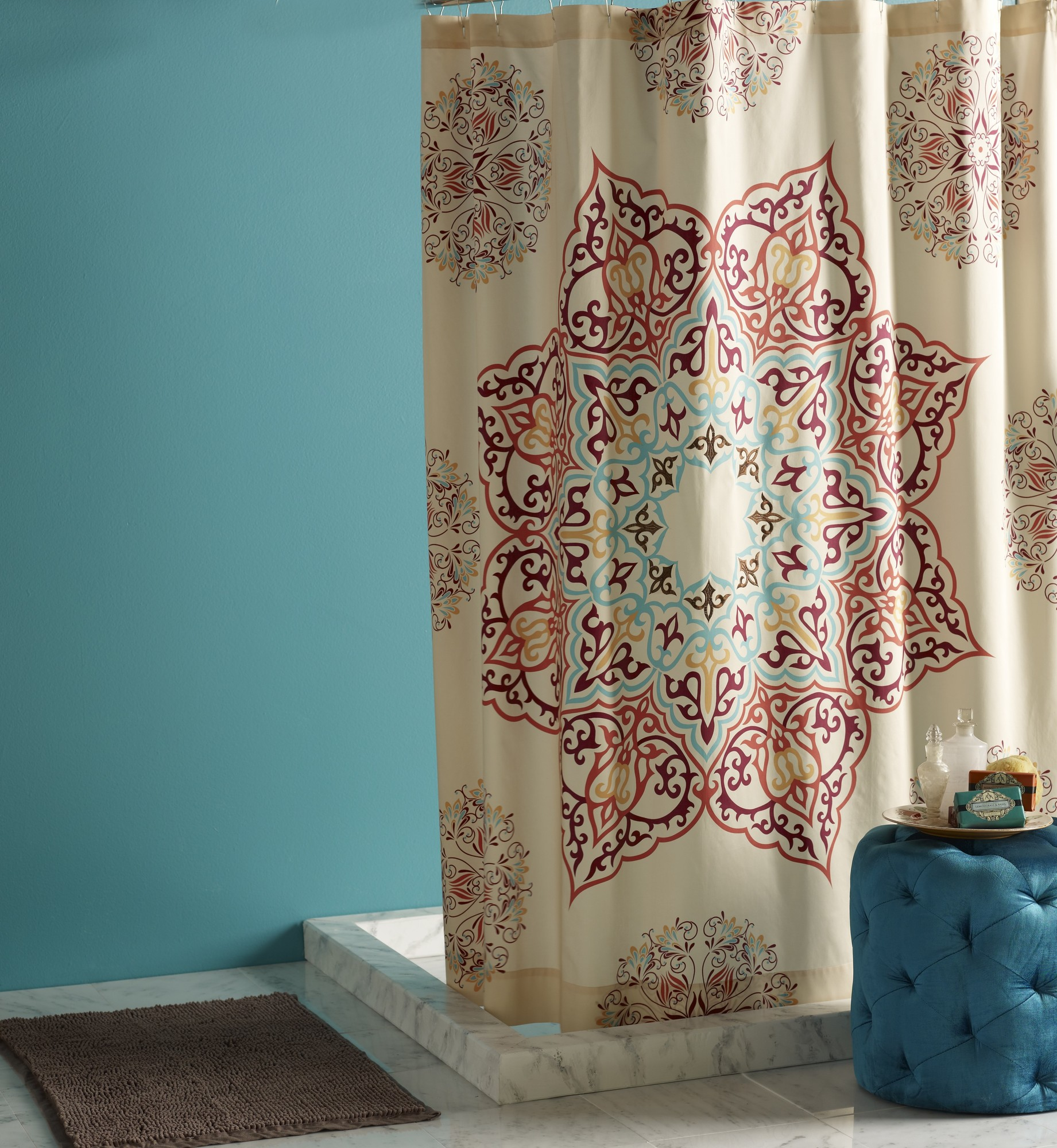 Elegant and exotic: Abu Dhabi Chanda Shower Curtain from Blissliving Home