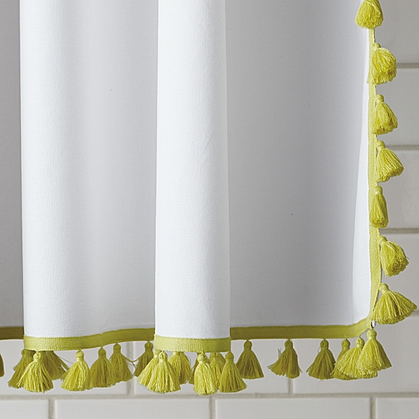 Crisp and Springy: Tassel Shower Curtain in Citrine from Serena and Lily