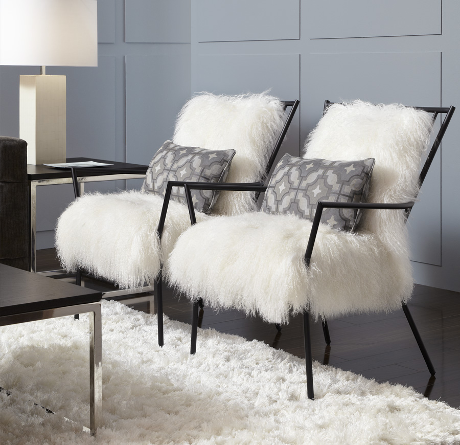 Ansel Chair: Black metal Windosr with Tibetan Lambswool Cushions from Mitchell Gold + Bob Williams