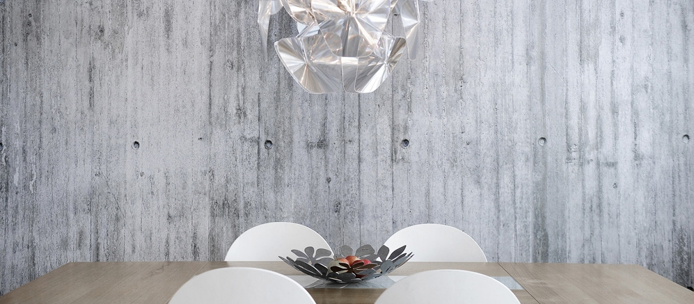 ConcreteWall by Tom Haga, featured in a dining room.