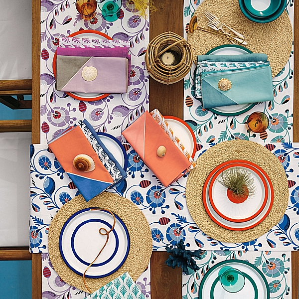 Tortuga Runners throw a splash of color and pattern across a summer table.