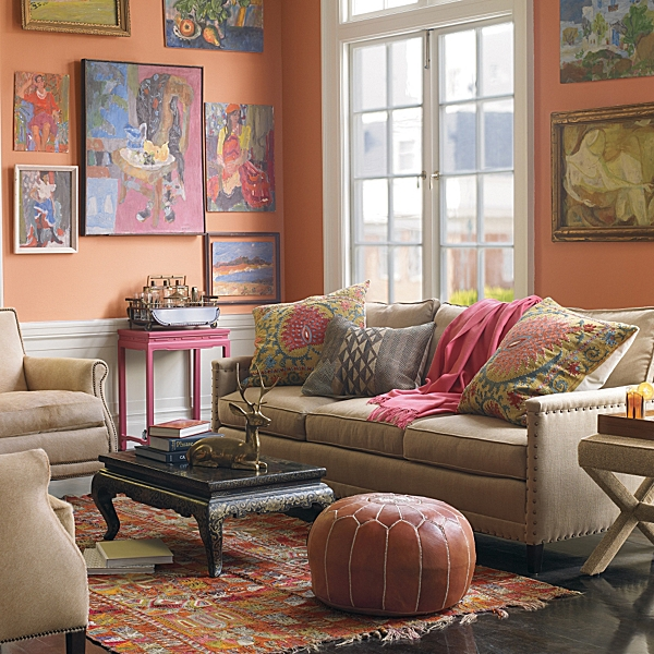 This Serena & Lily living room grouping shows a strong sense of design and color.