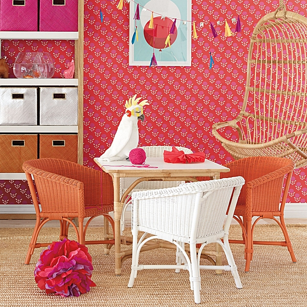 Everything in this girl's playroom is from the company, even the charming Blossom Wallpaper in strawberry.