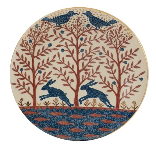 Forest with Blue Birds, large plate by Graziano Pericoli from Artemest