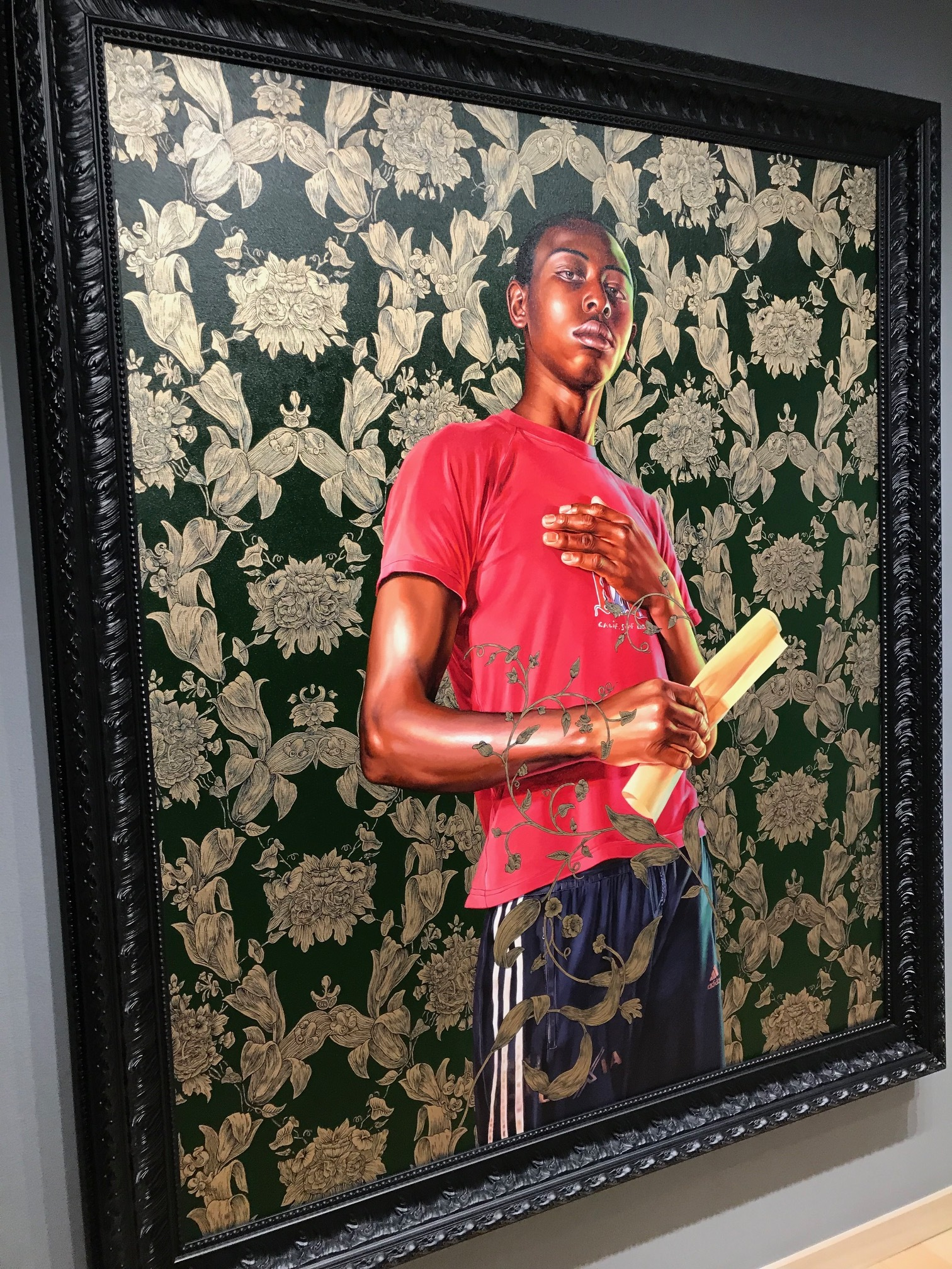 Kehinde Wiley Portrait of Dacdjo Ndie Joseph at Berggruen Gallery