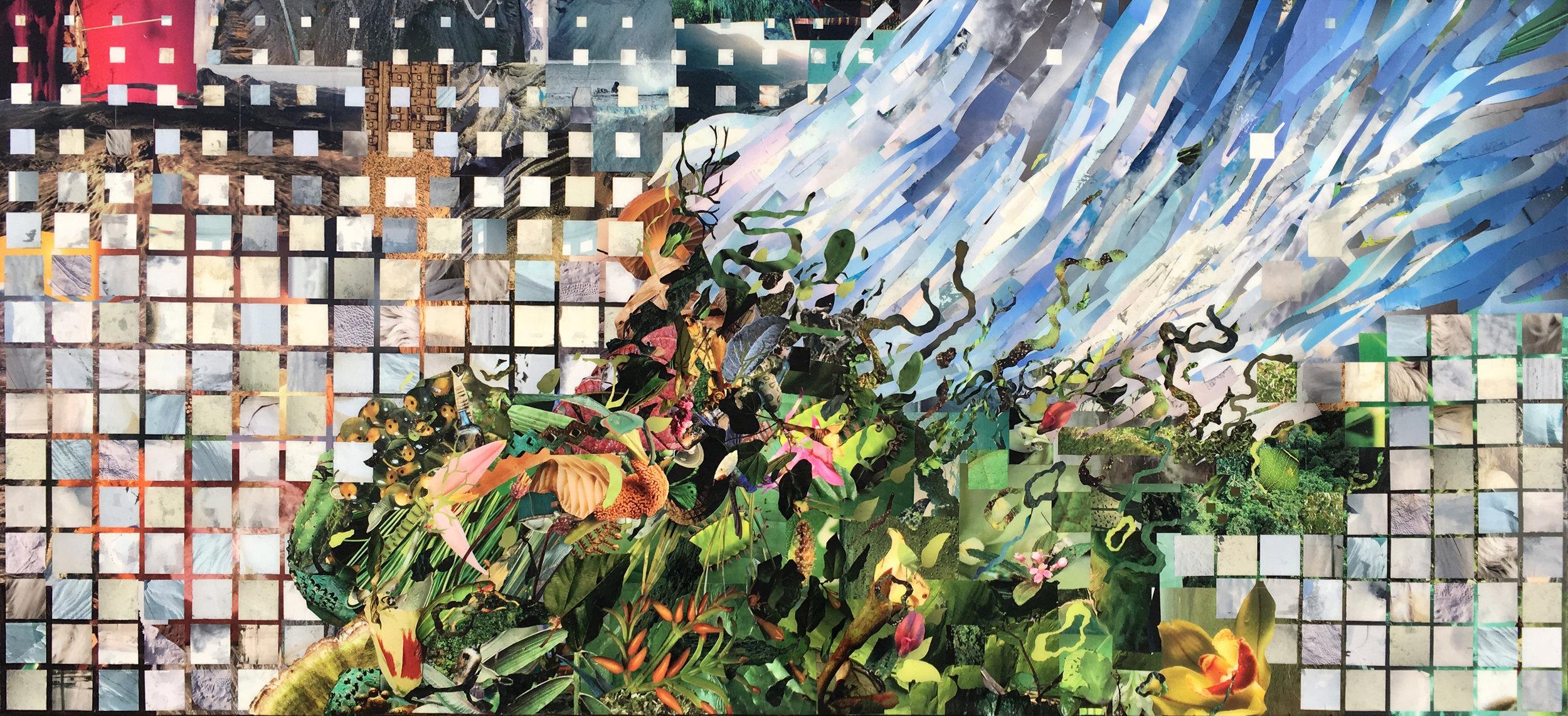 "Abundance, 2017 — 84"" x 36"", hand-cut collage with resin"