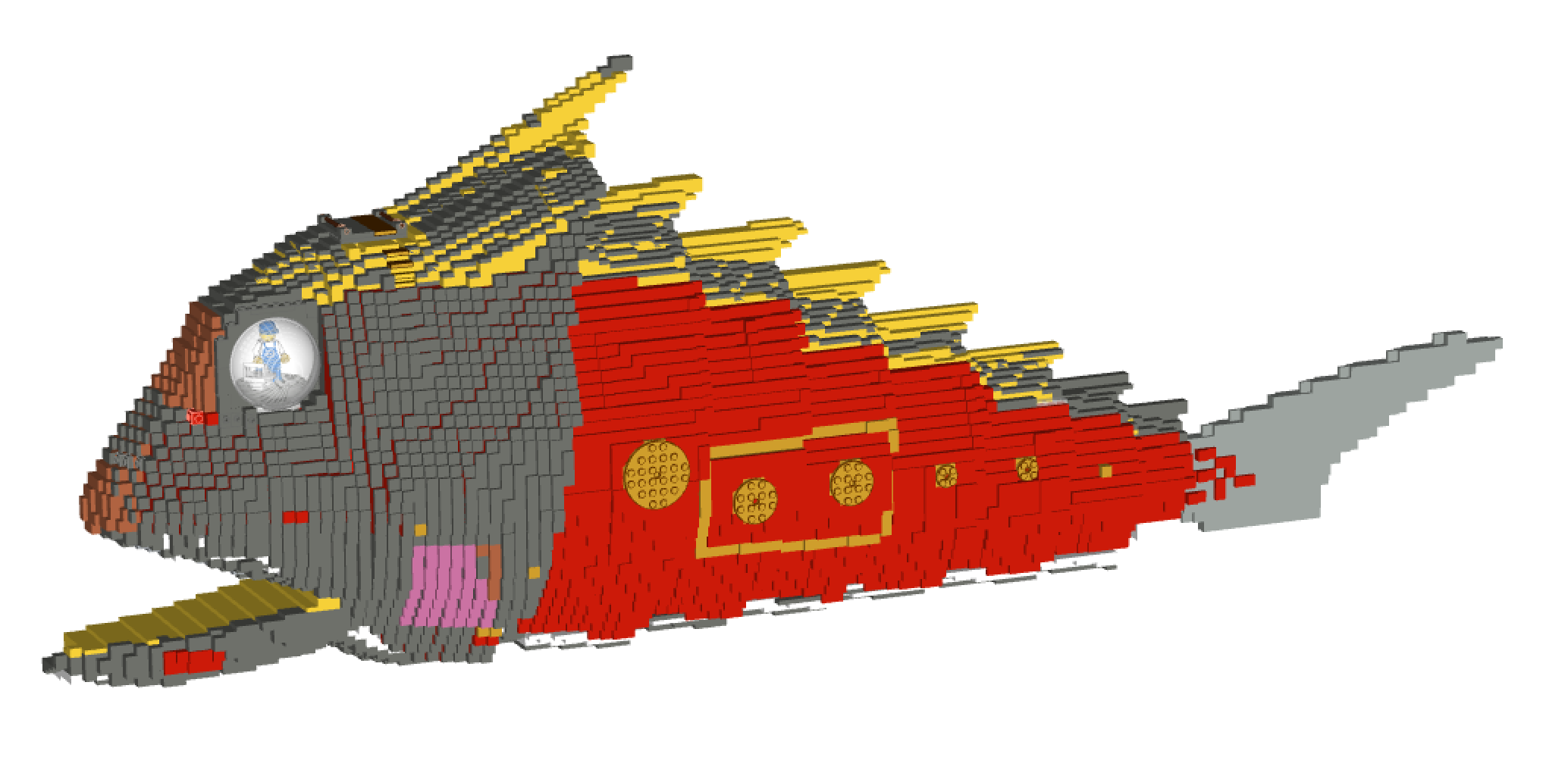 Final ldraw design. False coloured to show the direction of the bricks (up/down/left/right etc)