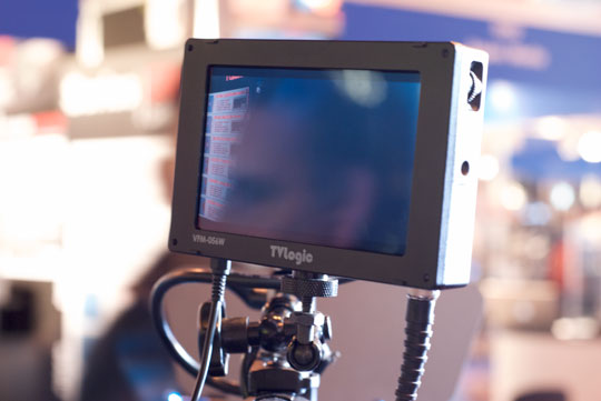 TV Logic's new DSLR Viewfinder the VFM-056W/WP seen at the BVE Show.