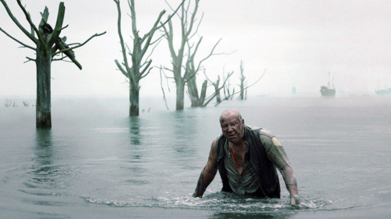 Magwitch, actor Ray Winstone, escapes the CGI prison ships. Heavy 'on camera' filtering sets the cold blue bleakness of Magwitch's character even though it was mid-summer at the time of the shoot.