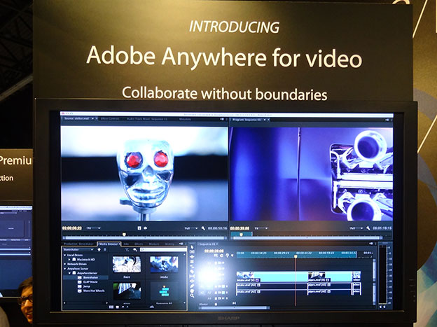 The Adobe Anywhere demo at IBC2012 showed a collaboration between two remoted editors with centralised storage in a third location.